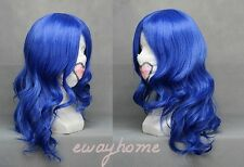 NEW FAIRY TAIL Juvia Loxar Long curly Dark Blue Anime Cosplay Hair Wig + wig cap