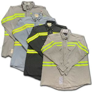 15081cf3f7ba Image is loading Bulwark-Flame-Resistant-Reflective-Shirt-FR -Enhanced-Visibility-