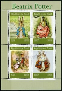 Chad-2019-CTO-Beatrix-Potter-Peter-Rabbit-4v-M-S-VOLPI-conigli-animali-FRANCOBOLLI