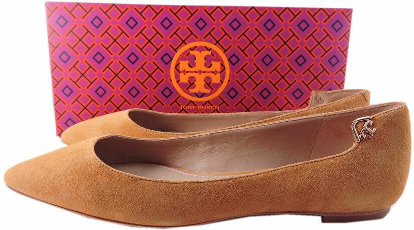 Tory Burch Elizabeth Elizabeth Elizabeth Pointy Toe Flats Ballerina Royal Tan Suede shoes 7.5 Pump b059ff