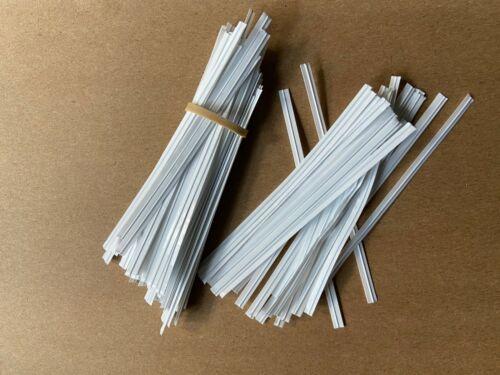 "Genuine White Plastic ULINE Pre-Cut Twist Ties 4/"" Inches Length"