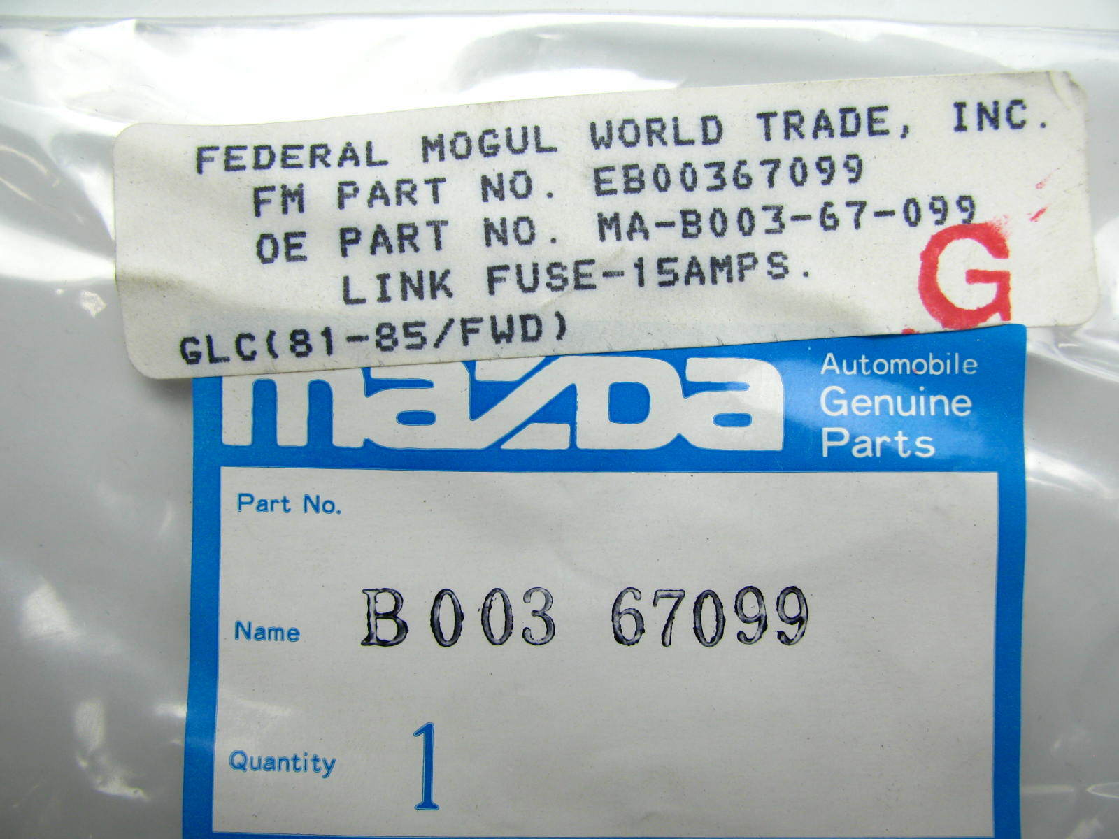 NOS OEM 15 Amp 15a Fuse Fusible Link Wire for Vintage Mazda Cars ...