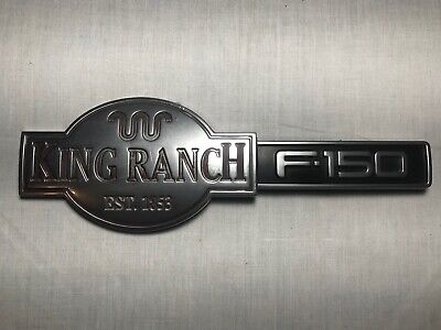 3D Raised King Ranch Emblem  Stainless Steel License Plate Tag For F150 250 350