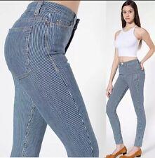 American Apparel Railroad Stripe High Waist Ankle Zip Skinny Jeans, Size 25