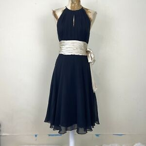 Next Dress 8 Black Aline Midi 100% Silk Floaty Ruched Fit Flare Occasion Evening