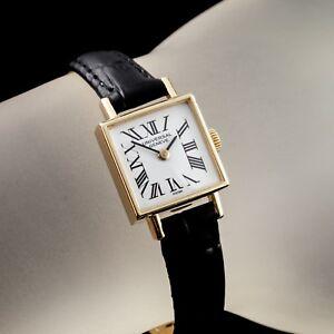 14k-Yellow-Gold-Universal-Geneve-Women-039-s-Square-Hand-Winding-Watch