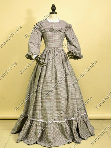 DowntonAbbeyInspiredDresses  Tartan Coutry Day Dress Gown Reenactment Theater Costume 260 $144.15 AT vintagedancer.com