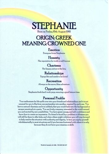 PERSONALISED FIRST NAME MEANING CERTIFICATE RAINBOW SKY BACKGROUND