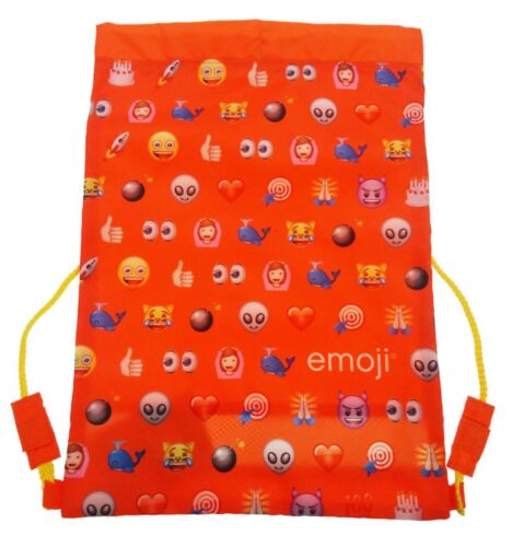 EMOJI FACES BOYS GIRLS ORANGE TRAINER GYM PE SPORTS KIT TIDY DRAWSTRING BAG NEW
