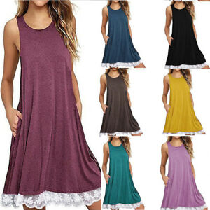 Fashion-Women-O-Neck-Casual-Lace-Sleeveless-Above-Knee-Dress-Loose-Party-Dress