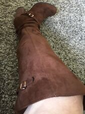 Womans Madden Girl Over Knee Brown Suede 10