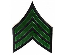 "(00) Green & Black SERGEANT CHEVRON 3.5"" x 4.6"" iron on patch (5771) Military"