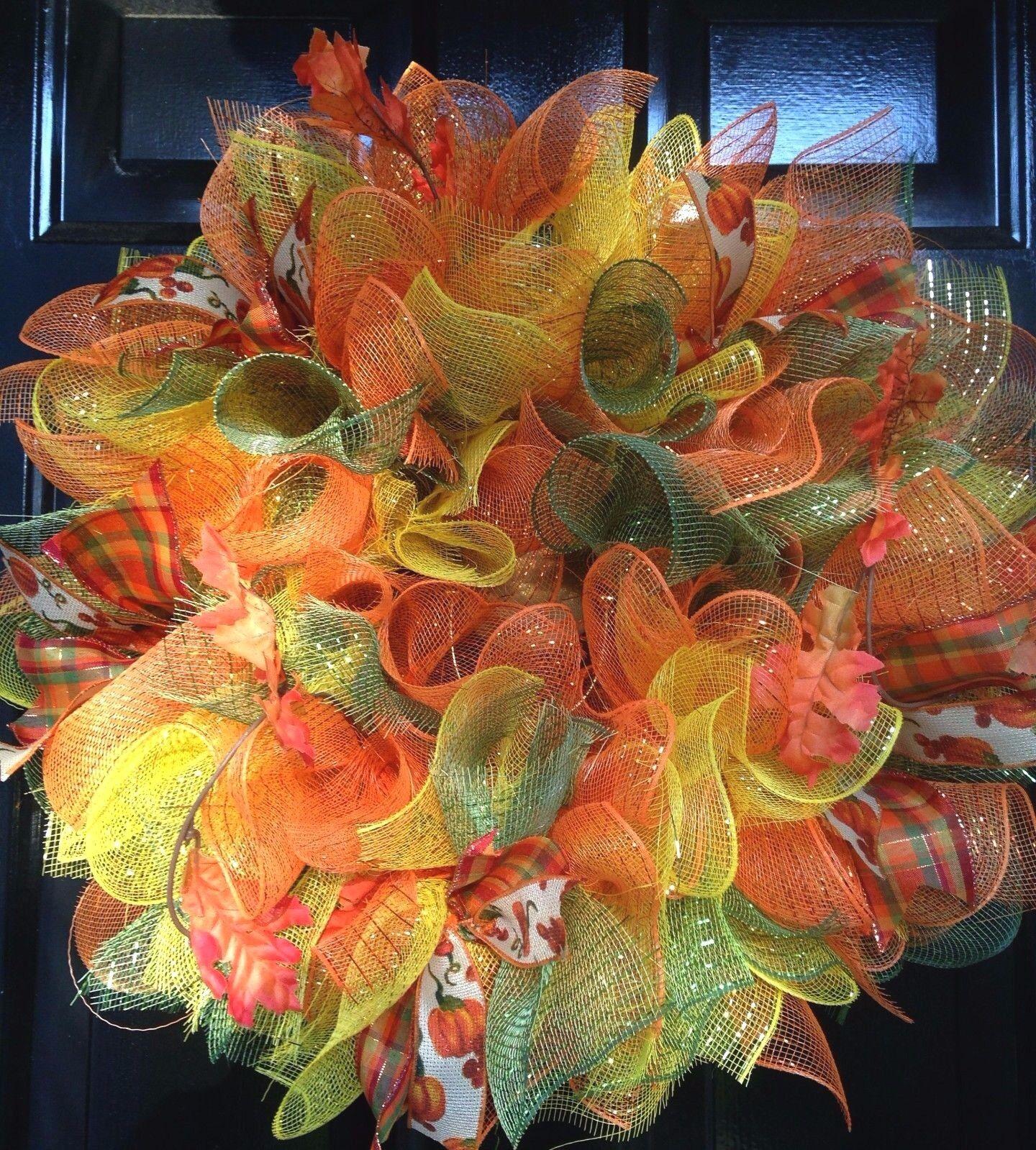 Fall Orange Give Thanks Deco Mesh Wreath