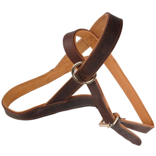 Quick Fit Genuine Leather No Pull Dog Strap Harness For Dog Training Brown M L