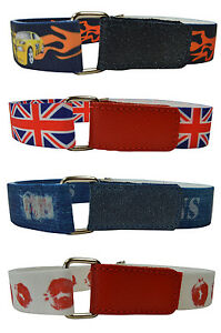 Kids Belts/Childrens Boys/Girls Printed Hook & Loop Elasticated Belts 1-6  Yrs | eBay