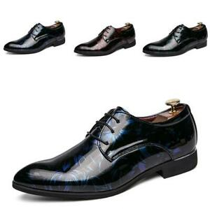 New-Mens-Pointy-Toe-Lace-up-Patent-Leather-Leisure-Date-Flats-British-Pumps-Shoe
