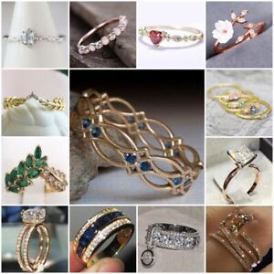 Trendy-925-Silver-18K-Yellow-Gold-Plated-Sapphire-White-Topaz-Ring-Women-Jewelry