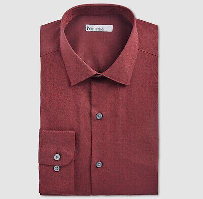 Nwt $115 Bar Iii 16-16.5 32//33 Men Slim-Fit Black Long-Sleeve Button Dress Shirt