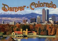 Skyline of Denver Colorado, Rocky Mountains & State Parks etc. CO --- Postcard