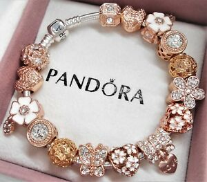 a3f36a1424bb8 Details about Authentic Pandora Sterling Silver Bracelet ROSE GOLD ANGEL  HEART European Charms