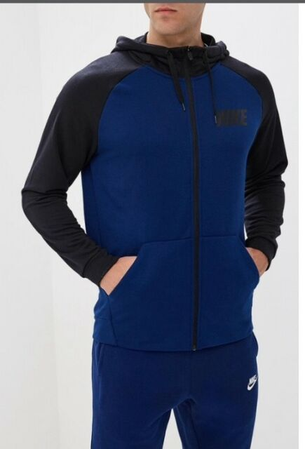 b9fd7040e275 NEW Nike Men s Dry Essential Training Full Zip Hoodie 931792-478 Blue Black  SZ