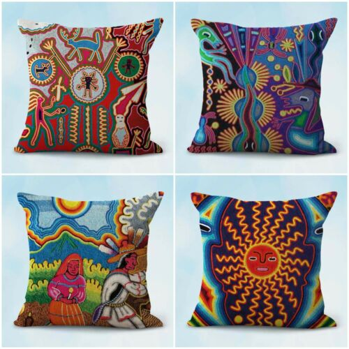 set of 4 throw pillow indigenous Huichol Mexico art cushion covers