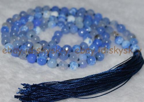 6mm Blue Faceted Agate Tibet Buddhist 108 Prayer Beads Mala Necklace meditation
