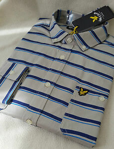 Size Hand Lyle Scott 99 amp; rrp Drawn Stripe Mens L Grey Shirt M s Bnwt £74 TxPwqC0T
