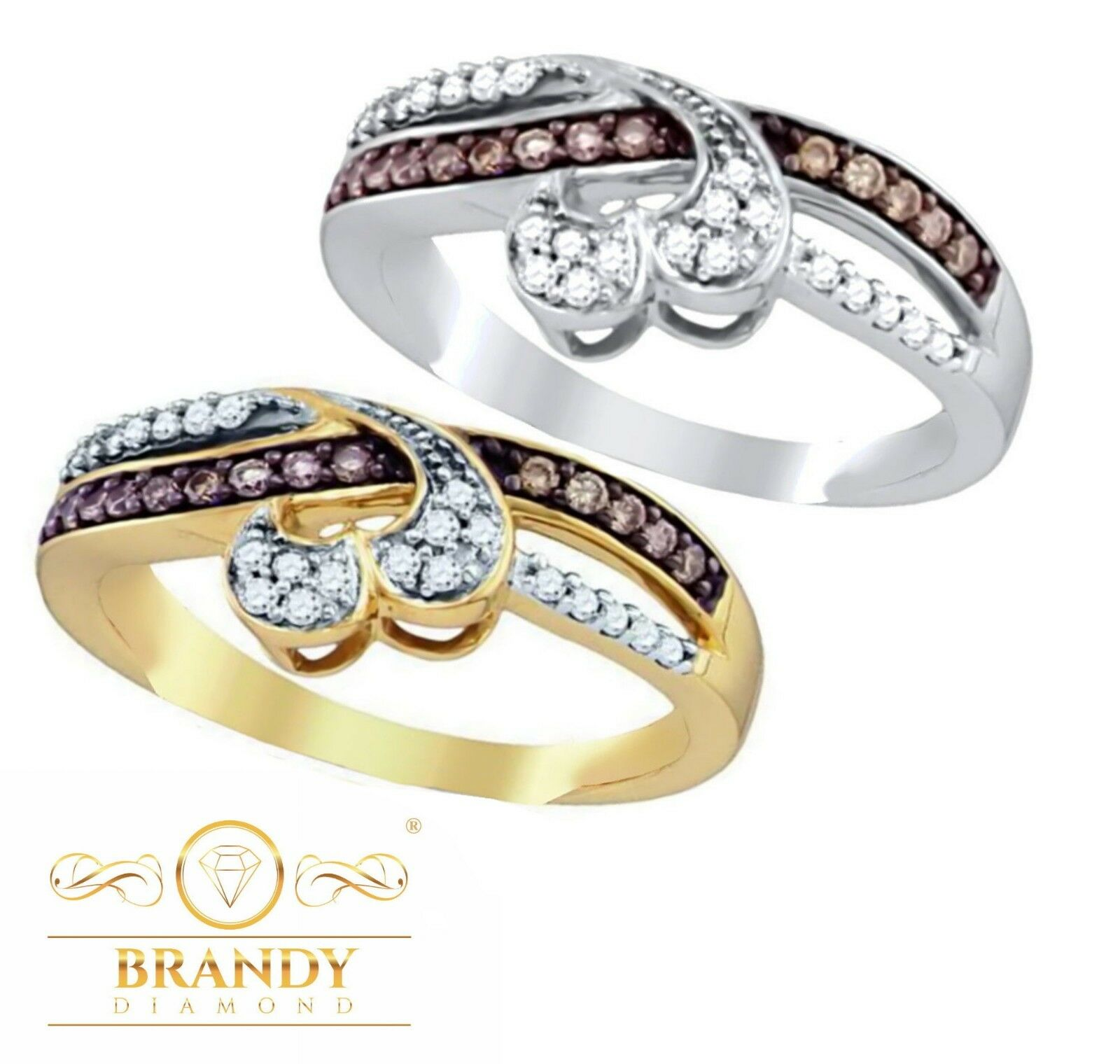 Brandy Diamond® Chocolate Brown 10K gold Credver Heart Ring .27Ct