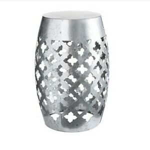 Fabulous Details About Galvanized Silver Metal Garden Stool Laser Cut Quatrefoil 18 5 Inches Inzonedesignstudio Interior Chair Design Inzonedesignstudiocom