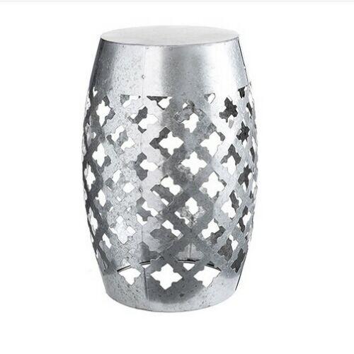 18.5 inches Galvanized Silver Metal Garden Stool Laser-Cut Quatrefoil
