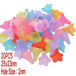 20PCS-Transparent-Frosted-Acrylic-Beads-Dyed-Flower-Mixed-Color-Beading-Crafts