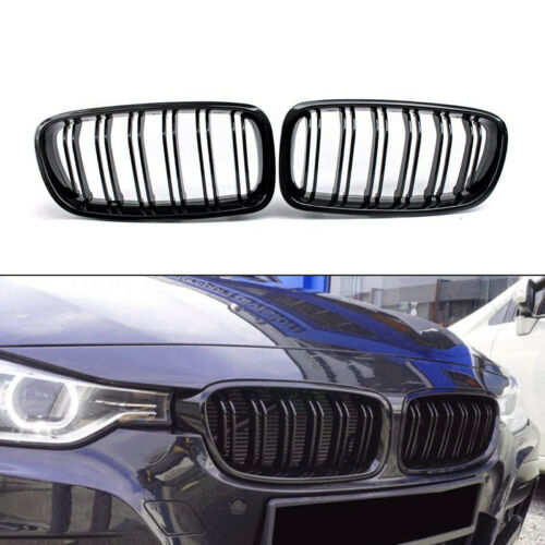 2x Gloss Black Double Slat Sport Kidney Grille Grill For 3 Series F30 F31 12-16
