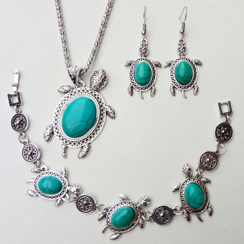Bleu Rétro Turquoise Tortue de mer collier pendentif boucles d/'oreilles bracelet bijoux Set S