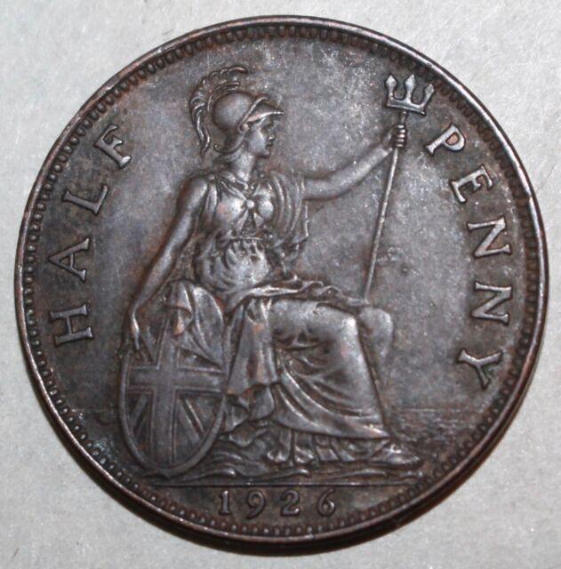 British Half Penny Coin, 1926 - KM# 824 - Great Britain King George V UK 1/2