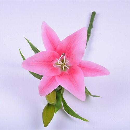 3 Heads Artificial Silk Lilies Fake Flowers Bridal Bouquet Wedding Home Decor