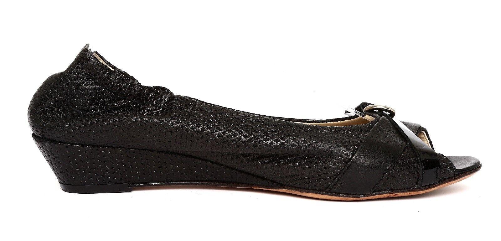 Attilio Giusti Leombruni Women's Black Leather Wedge Pump Sz 36.5 EUR 4192
