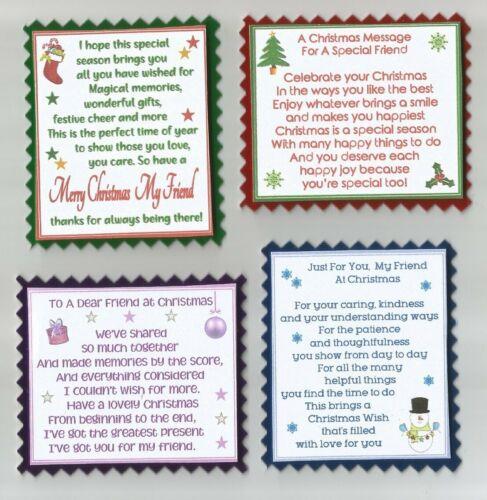 4 Tarjeta de felicitación especial Amigos En Navidad Artesanía VERSO TOPPERS con Wo sentimientos