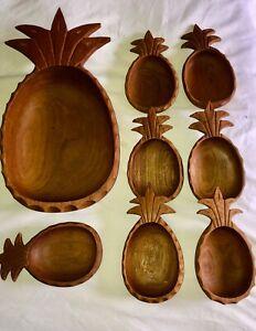 MCM Monkey Pod Wood Carved Pineapple Vintage
