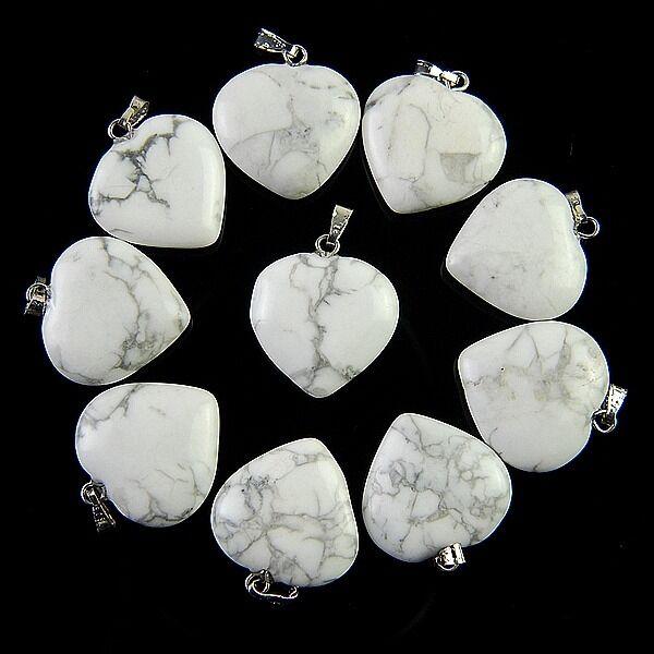 10pcs Charming White Howlite Heart Pendant Bead ABXX1RL