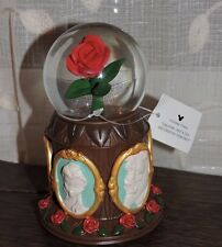 Disney Parks Glass Beauty and the Beast Musical Red Rose Snowglobe NEW