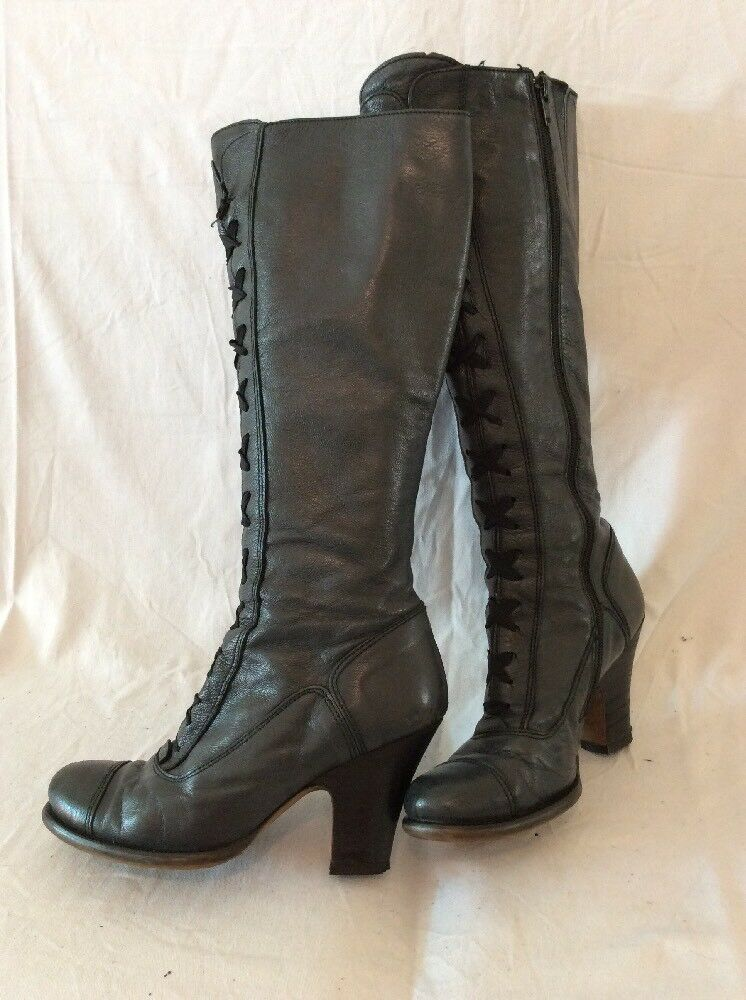 Jigsaw Dark Grey Knee High Leather Boots Size 37