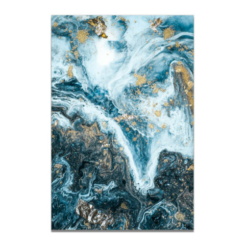 Dark Blue Fluid painting Canvas Modern Art Poster Picture Home Abstract Decor