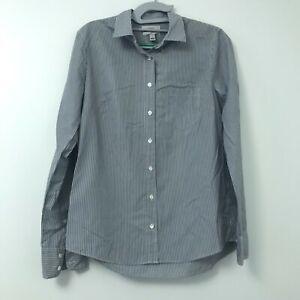 J-Crew-Women-039-s-Boy-Blue-White-Stripe-Long-Sleeve-Button-Front-Blouse-Top-Size-4