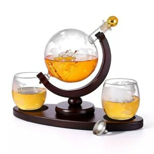 Luxury-Whiskey-Wine-Vodka-Decanter-Globe-Set-Glass-2-Whiskey-Glasses-amp-Stand-850ML
