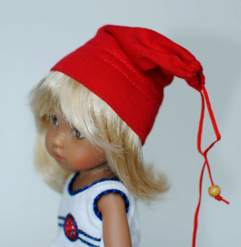 """Boneka Red Jelly Bag Cap for dolls with a head circumference of ca 6/"""" 15cm"""