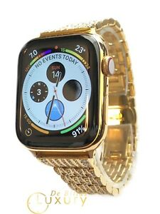 24K Chapado en Oro 44MM Apple Reloj Series 4 Diamante Pedrería Bandas - GPS +