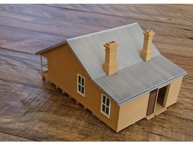 HO Scale Station staff house. 3D printed kit(Gray) High detail