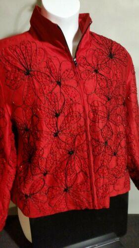 Red Silk Beaded Jacket XL