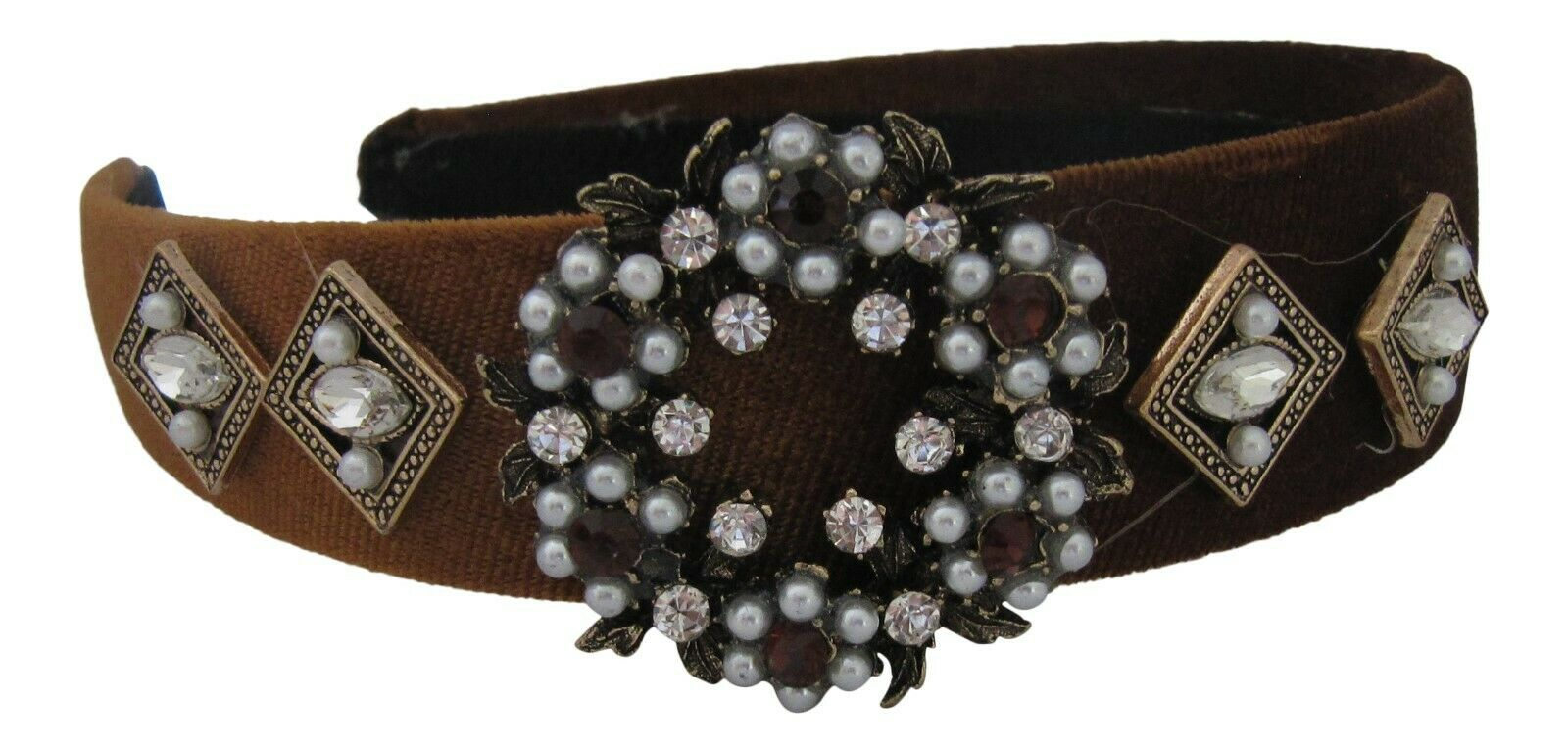 Baroque Crystal Jewelled Wide Nut Brown Velvet Hairband Alice Band Headband